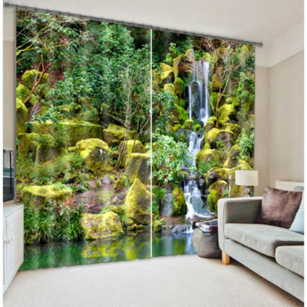 Amazing White And Green Waterfall Curtain Set