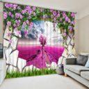 Charming 3D Rose Curtain Set