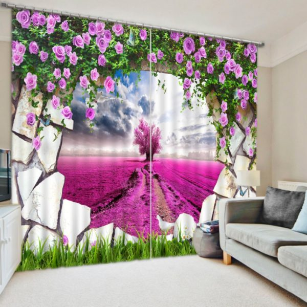 Charming 3D Rose Curtain Set