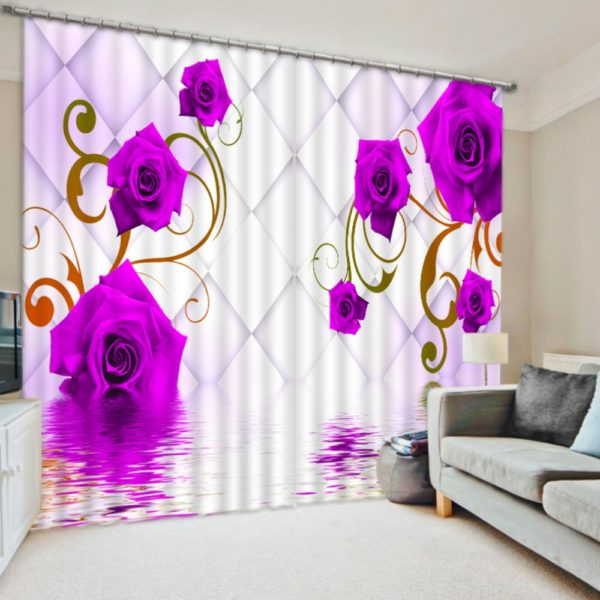 Pink Curtain Set In Rose Theme