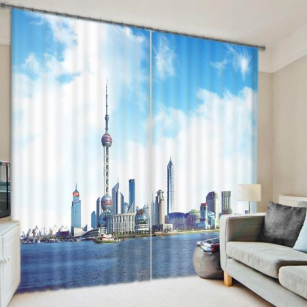 Contemporary City Themed Curtain Set