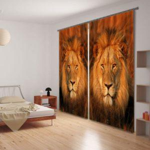 Amazing Lion Print Animal Curtain Set
