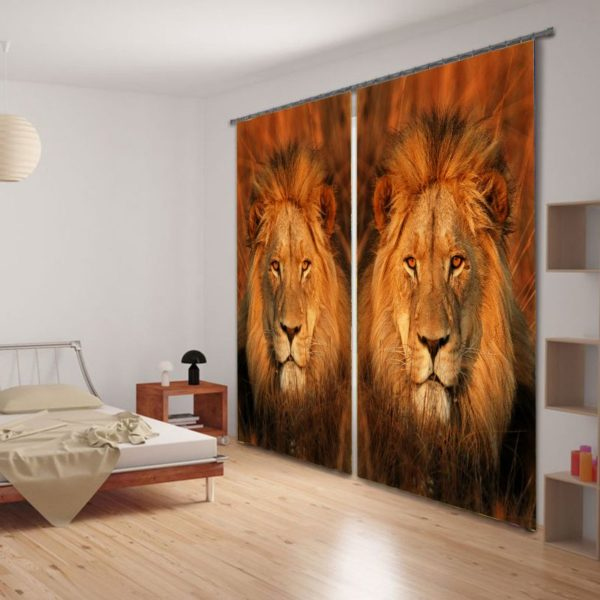 Amazing Lion Print Animal Curtain Set