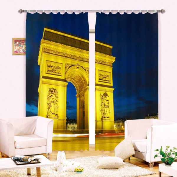 Grand Golden Color Arch Picture Curtain Set