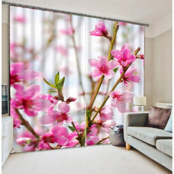 Classy Pink And White Floral Curtain Set