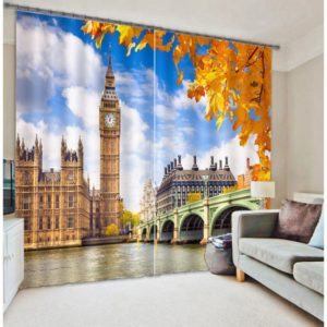 Gorgeous London Tower Picture Curtain Set