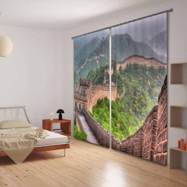 Amazing Great Wall Of China Picture Curtain Set