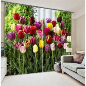 Fresh Flower Blooms Curtain Set