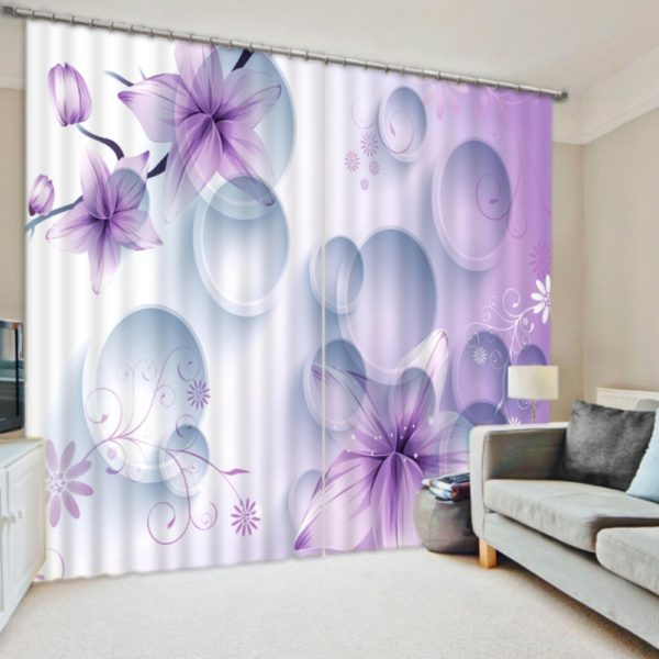 Exquisite 3D Lilac Curtain Set