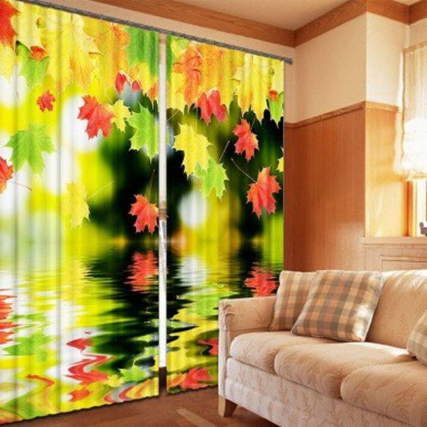 Exquisite Leaf Picture Print Curtain Set