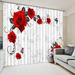 Exquisite Red Rose Curtain Set