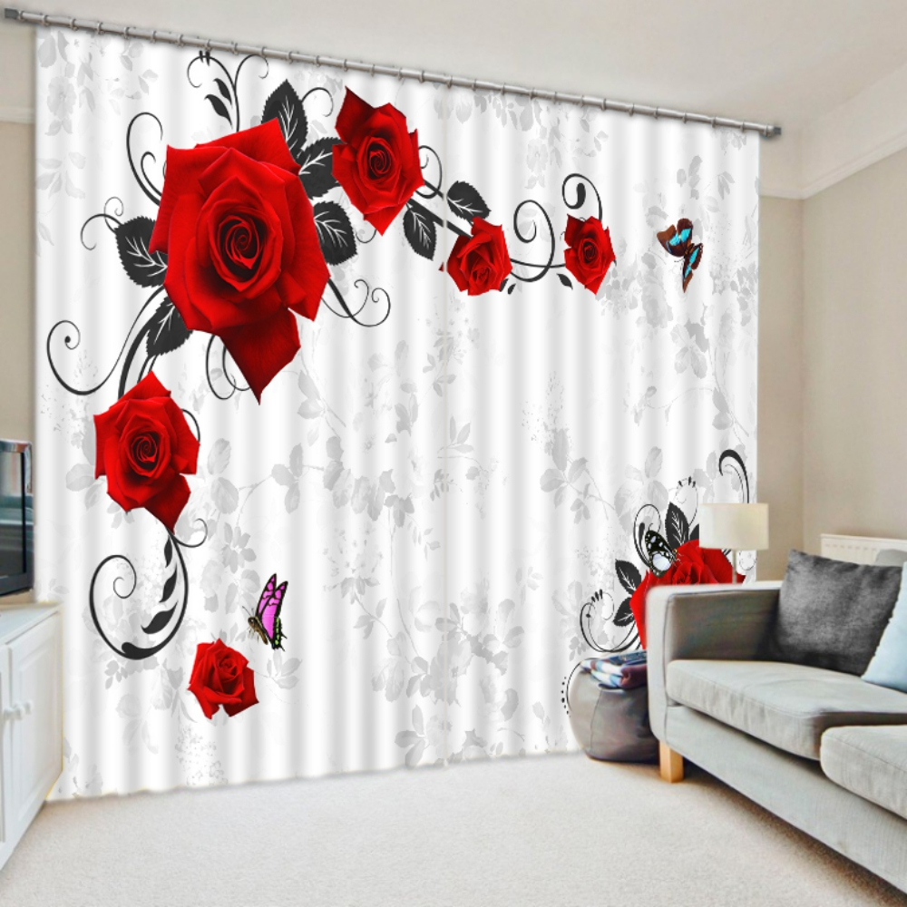 Exquisite Red Rose Curtain Set | EBeddingSets