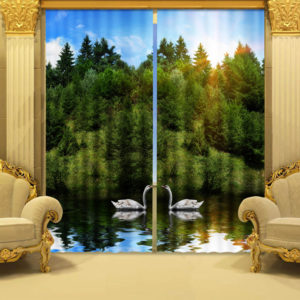 Exquisite Picture Print Curtain Set