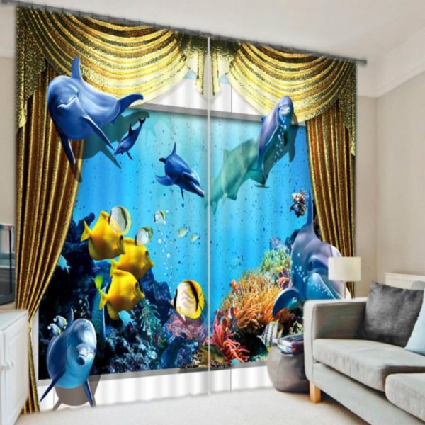 Exquisite Dolphins And Fish 3D Curtain Set