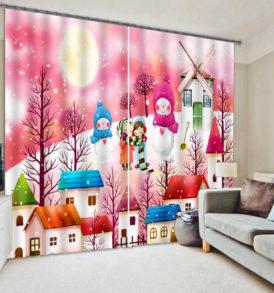 Vibrant Snow Themed Curtain set