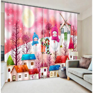 Vibrant Snow Themed Curtain set