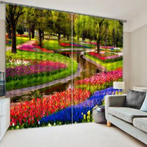 Colorful Floral Curtain set
