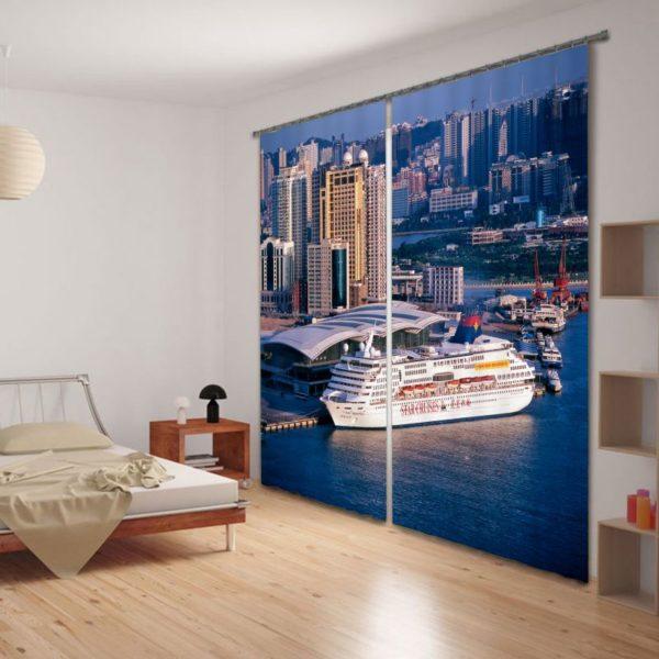 Contemporary Sea Curtain Set