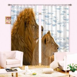Lion and Lioness Curtain Set