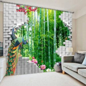 Majestic Peacock Picture Curtain Set
