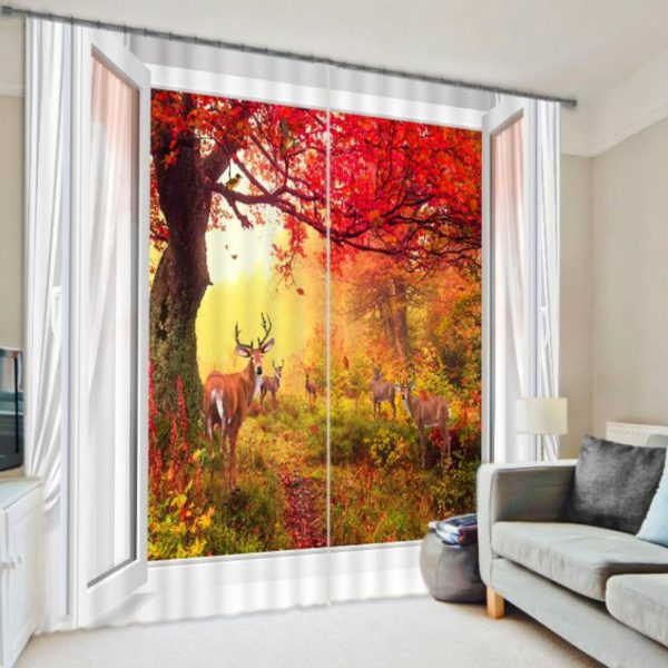 Elegant Deer Picture Curtain Set