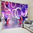 Chic Purple Picture Curtain Set