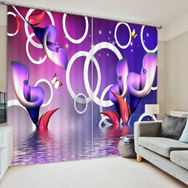 Chic Purple Picture Curtain Set