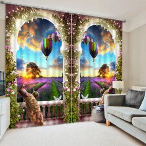 Beautiful Peacock Themed Picture Curtain Set