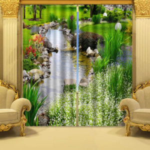 Beautiful Nature Based Picture Curtain Set