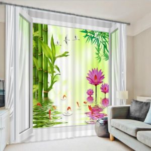 Stunning Floral Themed Picture Curtain Set