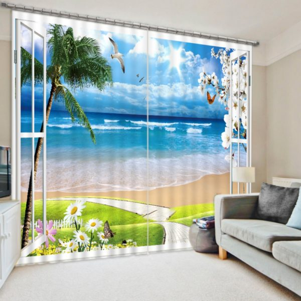 Fantastic Beach Picture Curtain Set