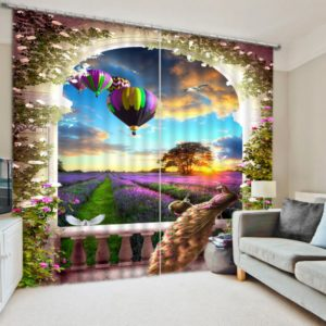 Fantastic Peacock And Balloon Picture Curtain Set