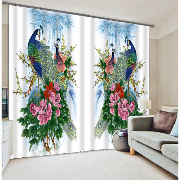 Fantastic Peacock Picture Curtain Set