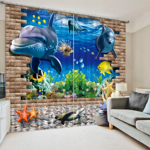 Dolphins And Sea Animals Curtain Set