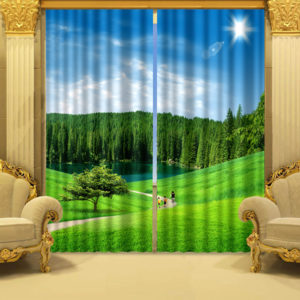 Luxurious Trees And Flowers Curtain Set