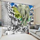 Majestic 3D Elelphant Curtain Set