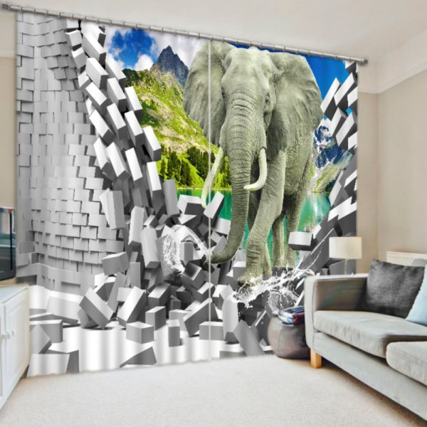 Majestic 3D Elelphant Curtain Set