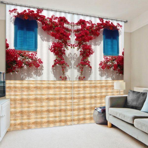 Elegant Red Flower Curtain Set