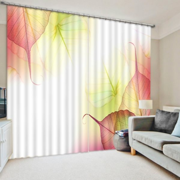 Elegant Leaf Motif Curtain Set