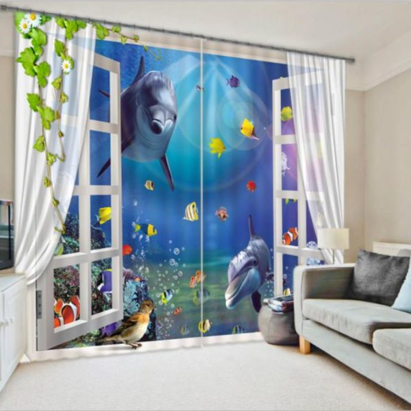 Elegant 3D Dolphin Picture Curtain Set