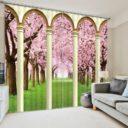 Royal Green And Pink Curtain Set