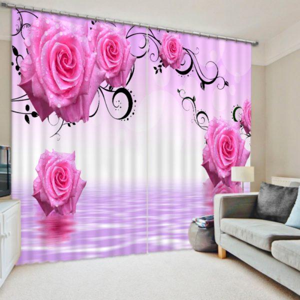 Royal Pink Roses Curtain Set
