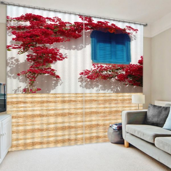 Royal Red Flower Curtain Set