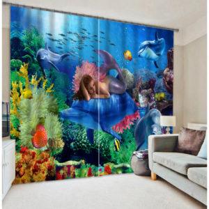 Splendid Mermaid Picture Curtain Set