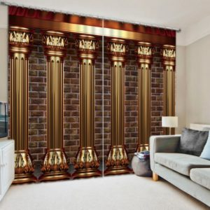 Charming Brown And Golden Curtain Set