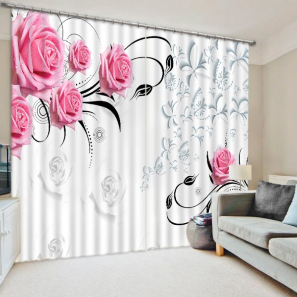 Charming Light Pink Rose  Curtain Set