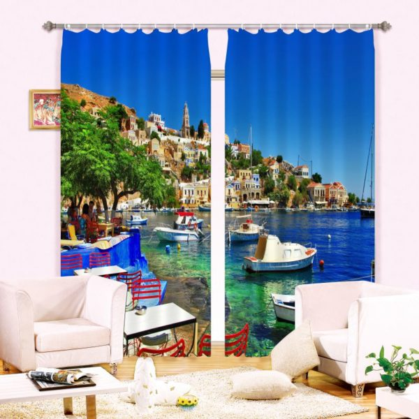 Charming Lake Picture Curtain Set