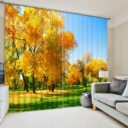 Lovely Yellow Tree Picture Curtain Set
