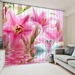 Lovely Pink Flower Curtain Set