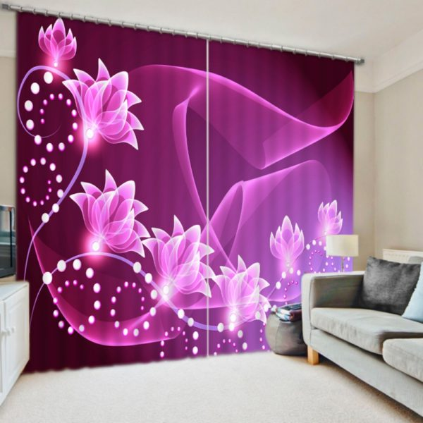 Chic And Modern Flower Curtain Set
